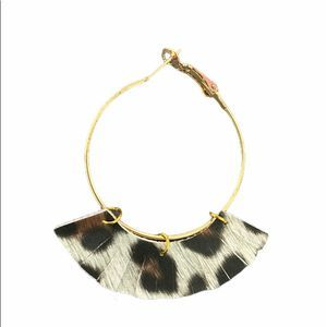 Cheetah hoops with split fringe in gold